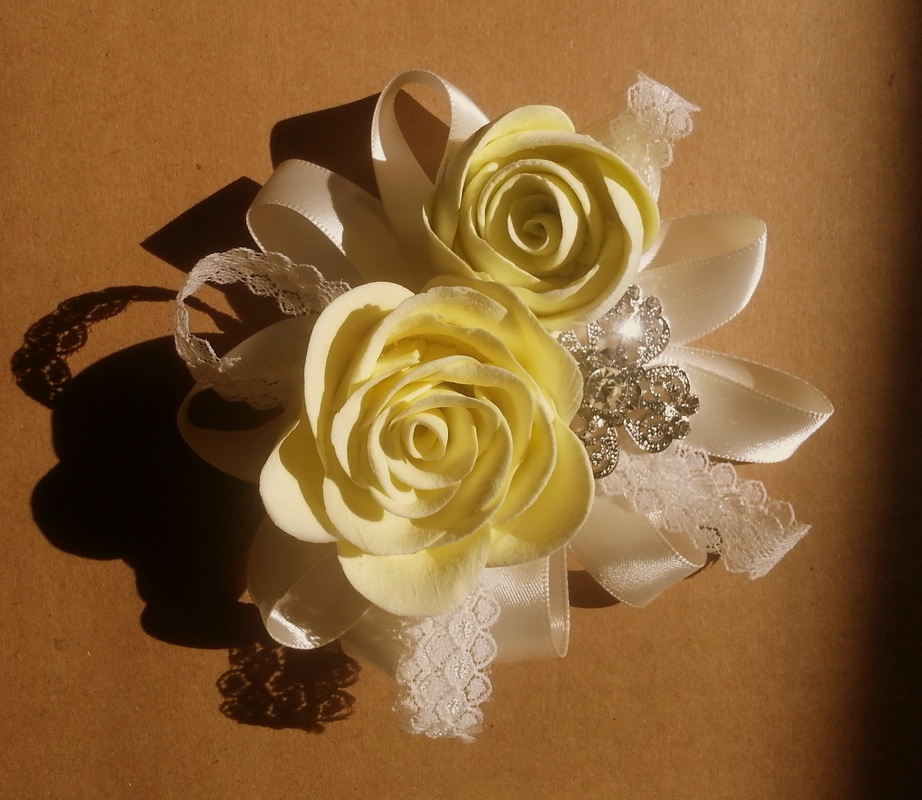 flower corsage, corsage, clay corsage, wedding corsage ,prom corsage, quinceanera corsage