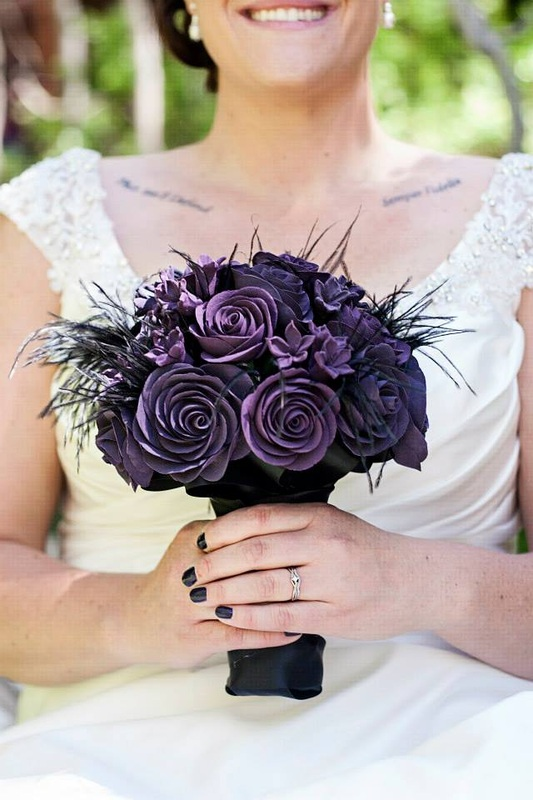 bouquet, wedding bouquet, bridal bouquet, clay bouquet, porcelain bouquet, keepsake bouquet, silk bouquet, purple bouquet, gothic bouquet, purple black bouquet