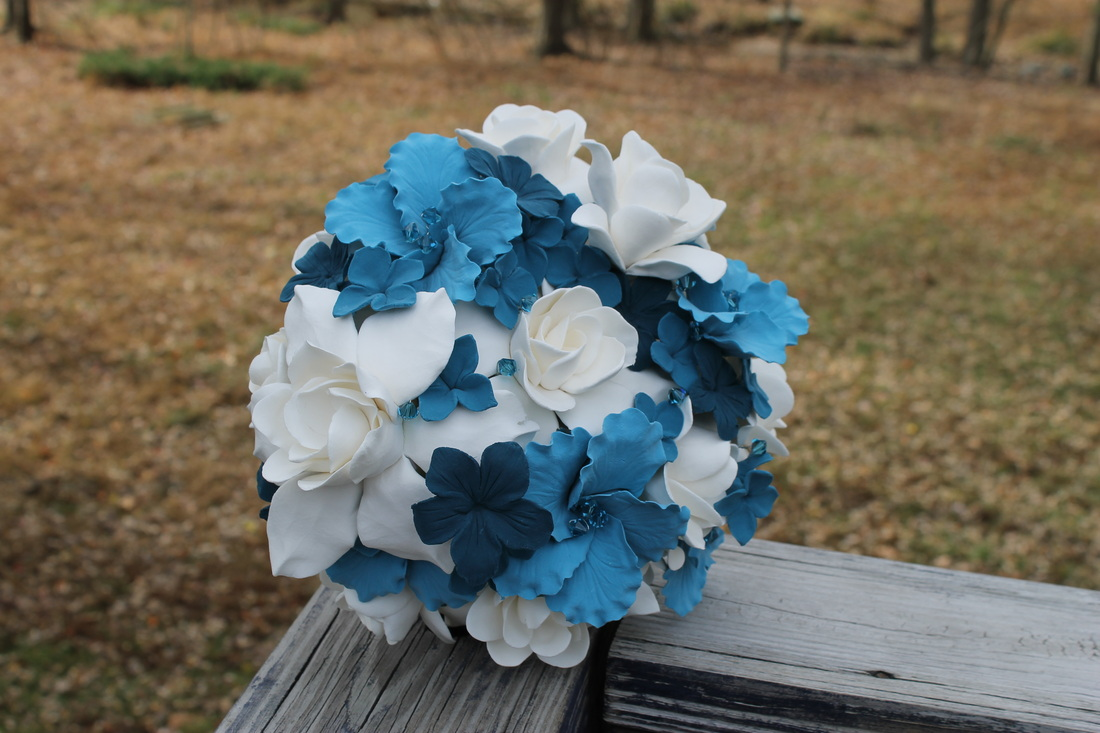 wedding bouquet, bridal bouquet, keepsake bouquet, clay bouquet, porcelain bouquet, blue bouquet, white bouqet, wedding flowers, bridal flowers, prom flowers, quinceanera flowers