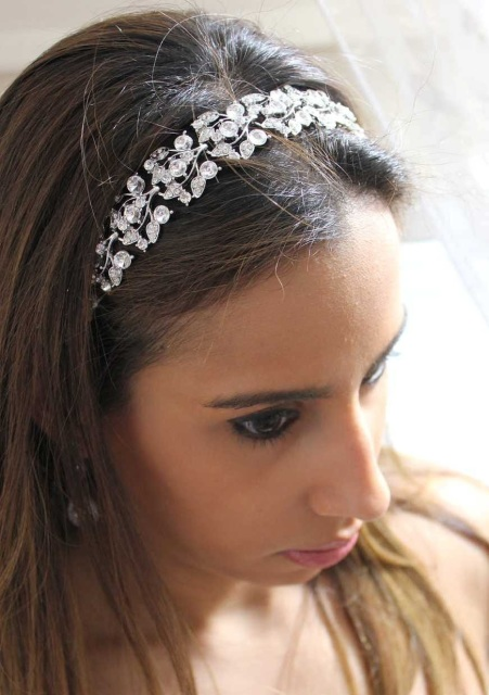 Collette Petite Silver Crystal Jeweled Ribbon Headband