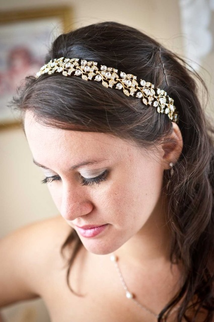 Collette Gold Crystal Jeweled Ribbon Headband
